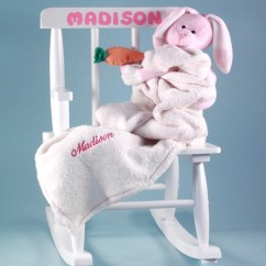 Little Girl Rocking Chair Smallest Folding Baby Gift Personalized By Silly Phillie With Blanket Plush Toy