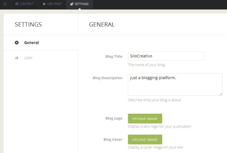 panel de configuración de blog en Ghost