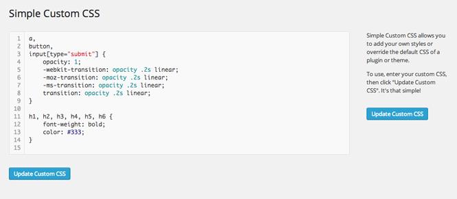 Editar CSS con plugin en WordPress