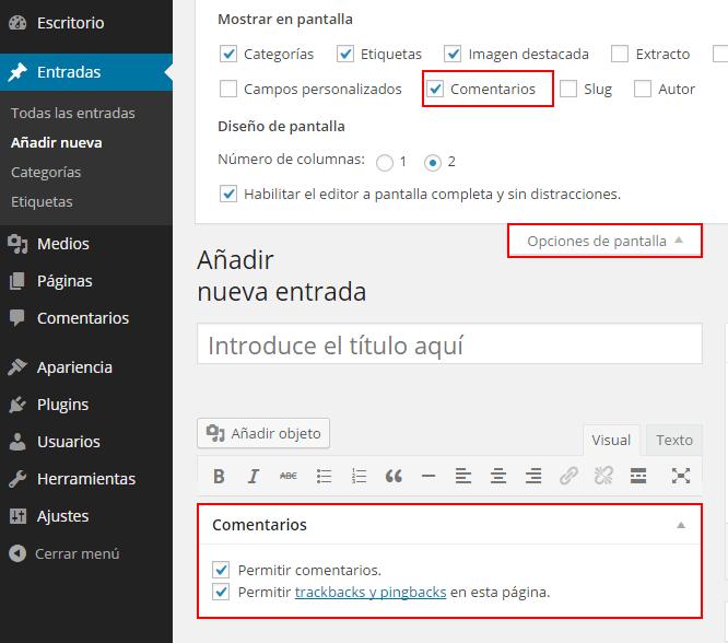 Desactivar comentarios en una entrada de WordPress
