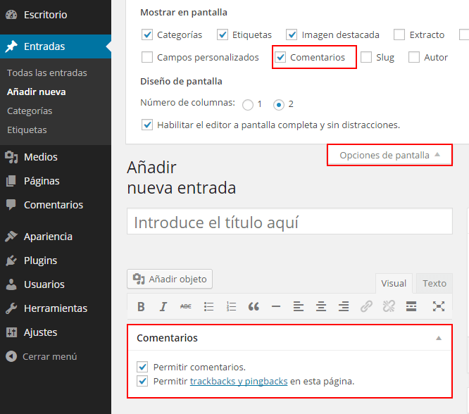 Activar y Desactivar Comentarios en WordPress • Silo Creativo
