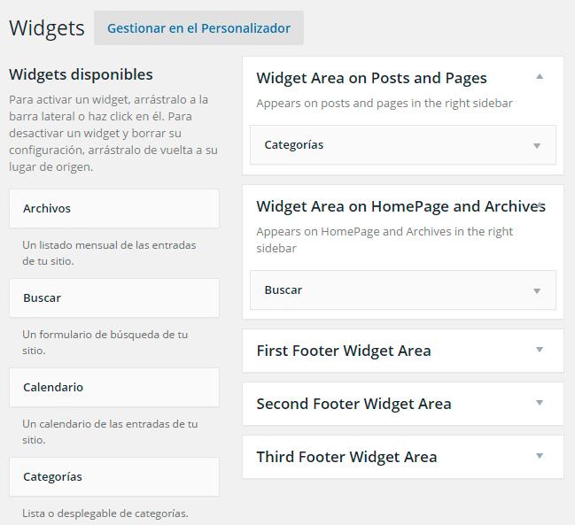 Distintos sidebars para añadir diferentes widgets