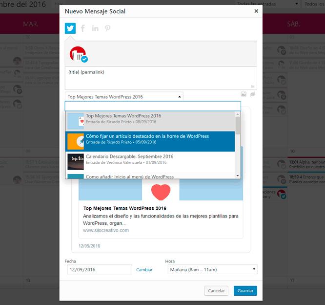 Programar Twitter desde WordPress