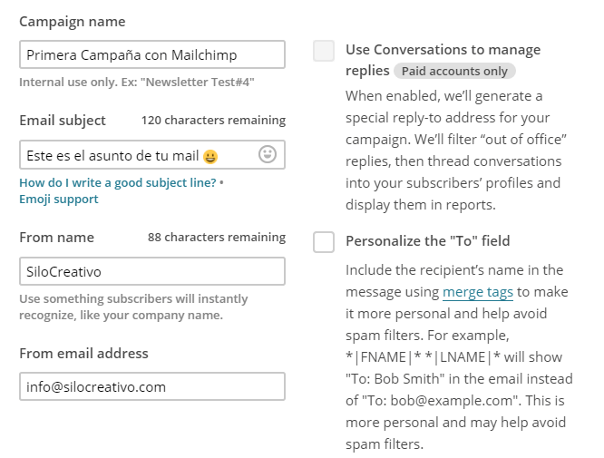 Crear nueva campaña con Mailchimp