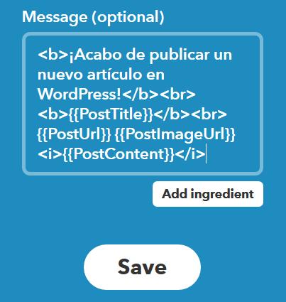 Campo de Mensaje en IFTTT usando HTML