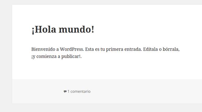 Entrada por defecto de WordPress