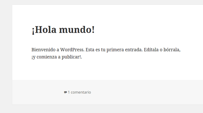 Entrada por defecto de WordPress