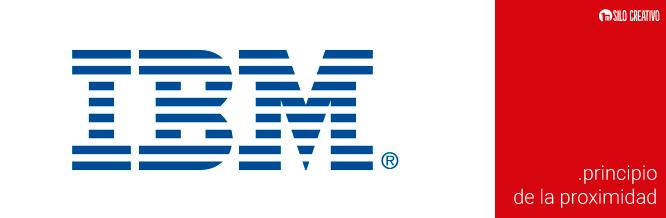 Logo de IBM, ejemplo del principio de proximidad de Gestalt