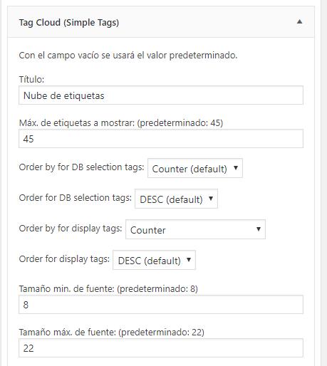 Widget del plugin Simple Tags