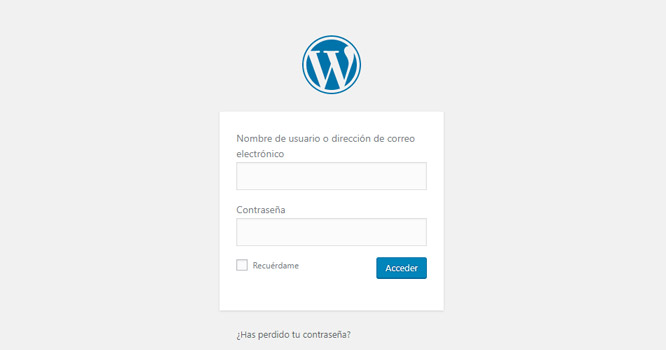 Pantalla de login por defecto d WordPress