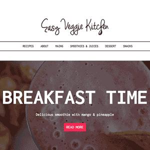 Blog sobre alimentación en WordPress