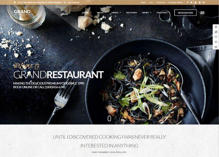 Grand Restaurant, plantilla WordPress para restaurantes