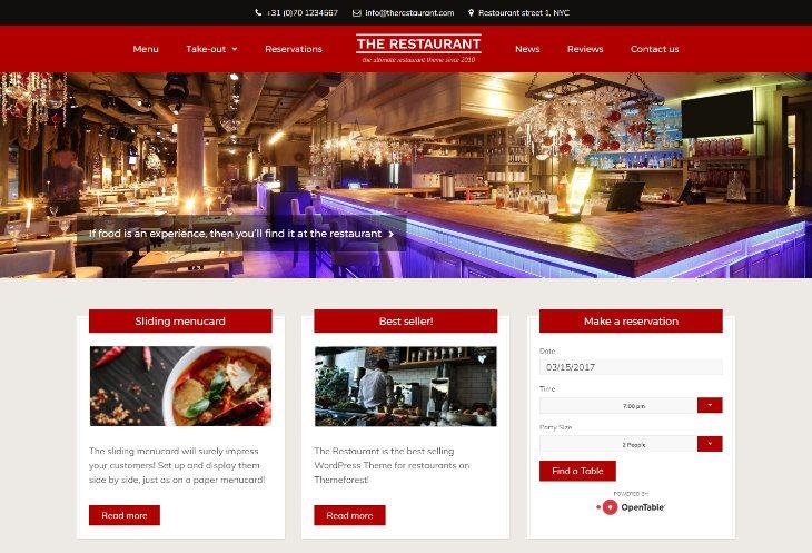 The Restaurant, plantilla WordPress para restaurantes