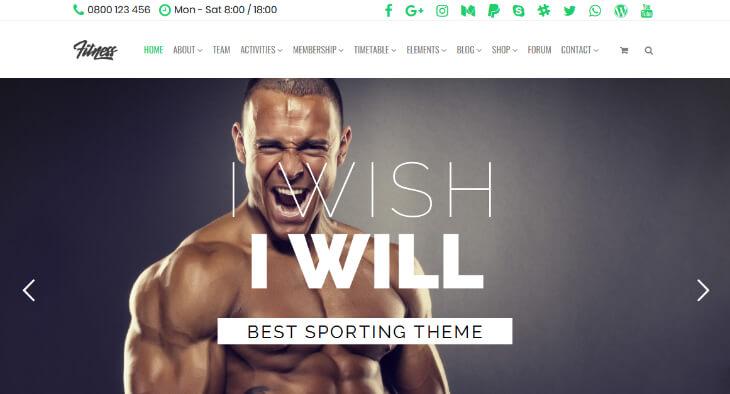 Fitness, plantilla WordPress para gimnasios, centros deportivos y de fitness