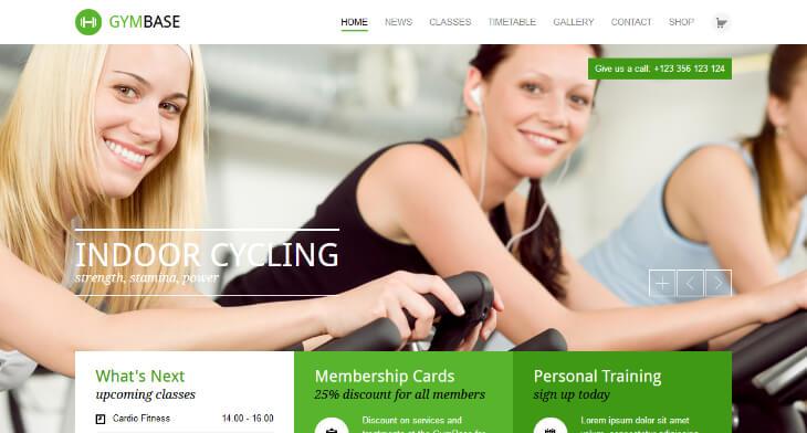 GymBase, plantilla WordPress para gimnasios, centros deportivos y de fitness