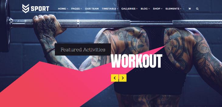 Sport Theme, plantilla WordPress para gimnasios, centros deportivos y de fitness