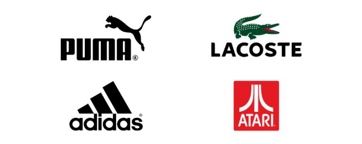 ejemplos logotipos combinacion puma, lacoste, adidas, atari