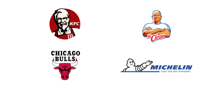 ejemplo logotipos mascotas kfc, mr clean, chicago bulls. michelin