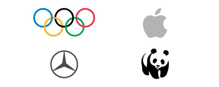 ejemplo logotipos simbolos olimpiadas apple, wwf, mercedes