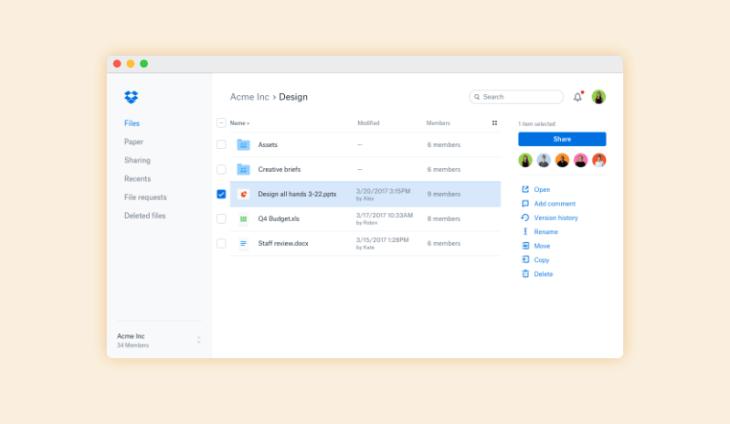 Dropbox, software de almacenamiento en la nube para trabajo en remoto
