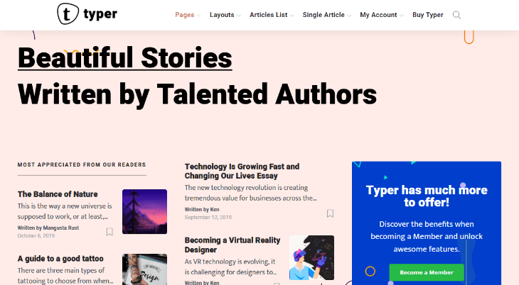 Typer, plantilla WordPress para autores, escritores y editores