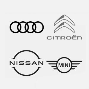 logos de automoviles con diseño flat
