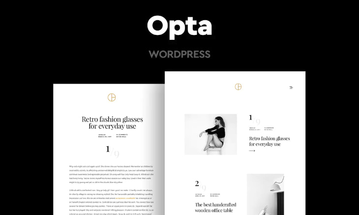 Opta, plantilla WordPress minimalista