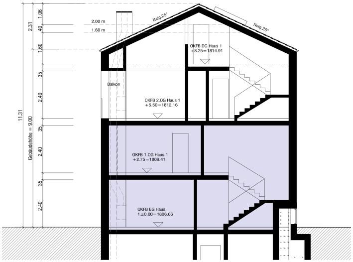 Schnitt Wohnung 1.1