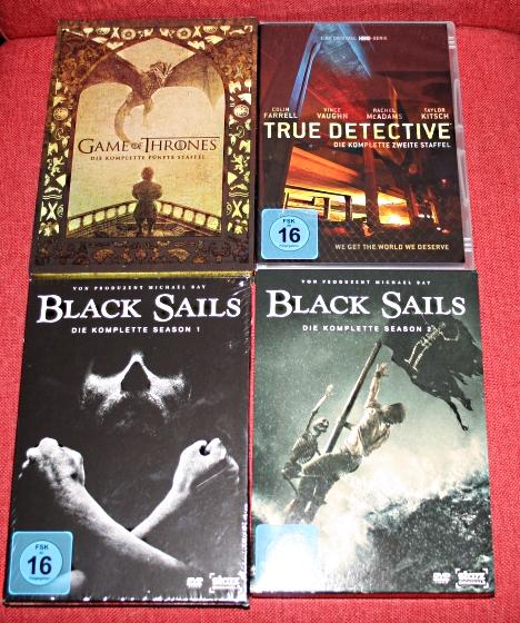 5. Staffel GoT, 2. Staffel True Detective, 1. und 2. Staffel Black Sails