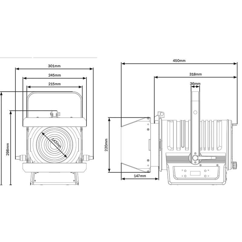 Fresnel LED 120W 3000K Zoom manual de 19º a 37º (MP 120