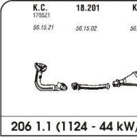 Ispuh Peugeot 206 1.1/1.4/1.6 98- srednja kratka cijev