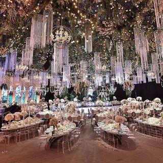 wedding decoration with flowers & Lighting