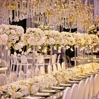 flower decoration on dining tables