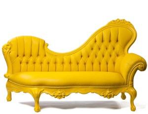 Jasmine Chaise Yellow Mirrored