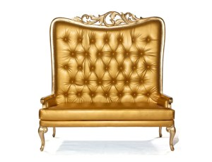 Tiffany Love Seat Gold With Gold Leaf Frame