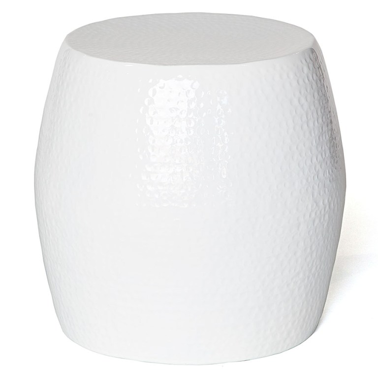 Pop Hammered Stool/Side Table White