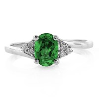 Oval Cut Emerald Promise Ring | SilverBestBuy