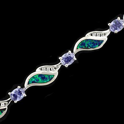 Australian Opal Bracelet With Tanzanite