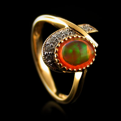 Unique Fire Jelly Opal Ring