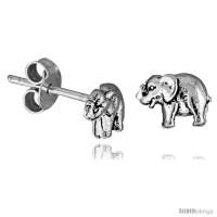 Tiny Sterling Silver Elephant Stud Earrings 5/16 in -Style ...
