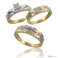 10k Yellow Gold Trio Engagement Wedding Rings Set for Him ...