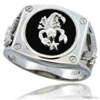 Sterling Silver Men's Black Onyx Scorpion Ring Screw ...