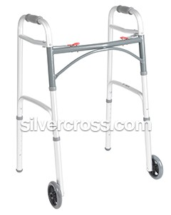 Drivemedical Deluxe Folding Walker Two Button With 5 Wheels | Silver Cross | Types of Walkers