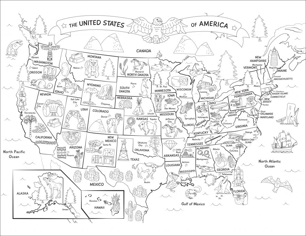 Sticker Road Trip Color A Map Of The 50 States