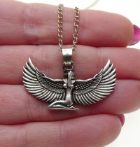 Silver Isis Pendant, Egyptian Goddess Necklace - Silver ...