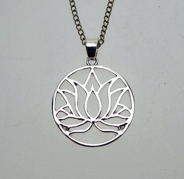 Silver Lotus Pendant Necklace Lotus Flower Necklace