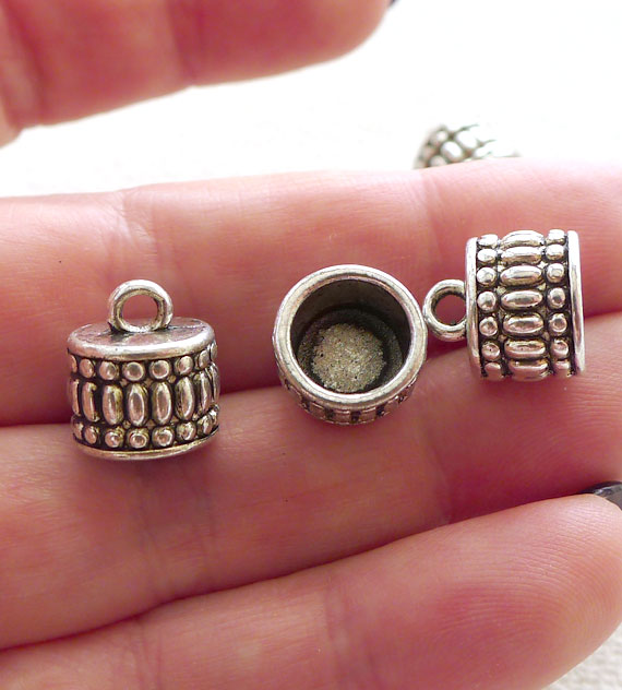 Jewelry End Caps with 8mm Opening Antique Silver