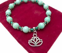 Lotus Bracelet - Beaded Lotus Flower Gemstone Jewelry ...
