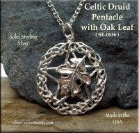 Sterling Silver Celtic Druid Pentacle Pendant with Oak ...