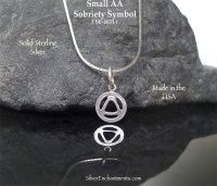 Sterling Silver Alcoholics Anonymous Charm, Small AA Symbol